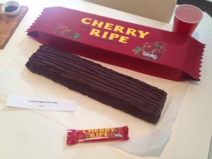 Giant Cherry Ripe - packaging size comparison